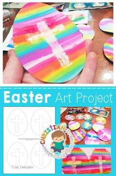Easter Cross Art Project for Kids! Stunning Easter Cross Craft, includes free printable template and step-by-step photo tutorials. via art for toddlers sunday school Easter Cross Art Project for Kids Easter Art, Easter Crafts For Kids, Bunny Crafts, Easter Decor, Easter Eggs, Easter Activities, Preschool Crafts, Sunday Activities, Preschool Ideas