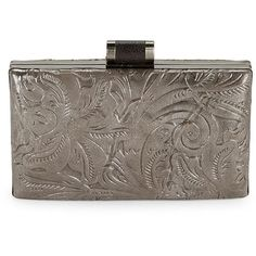 Patricia Nash Metallic Leather Clutch ($99) ❤ liked on Polyvore featuring bags, handbags, clutches, pewter, embossed leather purse, embossed leather handbags, genuine leather handbags, metallic leather handbags and metallic clutches