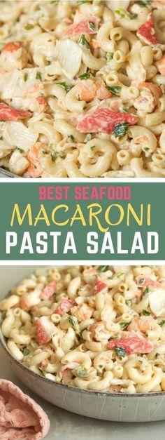 Shrimp Macaroni Salad, Best Macaroni Salad, Seafood Salad, Crab Salad, Shrimp Recipes Easy, Pasta Salad Recipes, Seafood Recipes, Drink Recipes, Easy Cooking