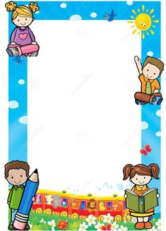 Frame Border Design, Boarder Designs, Page Borders Design, Kindergarten Portfolio, Kindergarten Lesson Plans, School Binder Covers, School Border, Boarders And Frames, School Frame