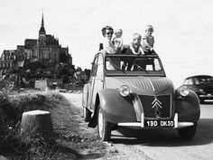 France 1950s Mont St Michel 2 CV
