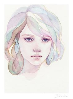 Kai Fine Art is an art website, shows painting and illustration works all over the world. Watercolor Face, Watercolor Artwork, Watercolor Portraits, Art Sketches, Art Drawings, Mouse Illustration, Portrait Art, Art Images, Art Inspo