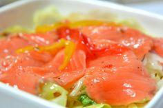 Carpaccio de salmón con vinagreta de aguacate: http://carpaccio-de-salmon-con-vinagreta-de-aguacate.recetascomidas.com/