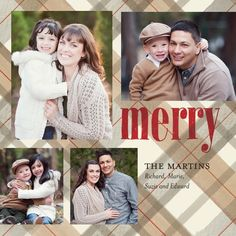Christmas card idea 2013.  Love the plaid and would look good with fall pictures.