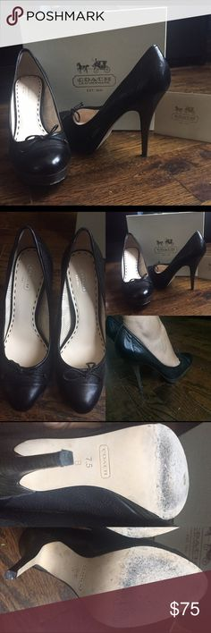 "Authentic Black leather Coach Pumps sz 7.5 EUC 100% AUTHENTIC COACH PUMPS - style/model name = bethanie tmbld glz s q1027 black 7.5 M - 4 inch heel 1 inch platform - leather outer - laser cut Coach ""c"" logo throughout- purchased at Coach store - small tied bow on toe area - super comfortable- great for work - original box Coach Shoes Heels"