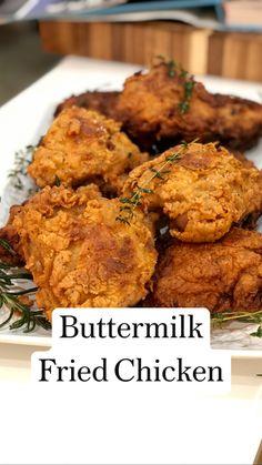 Buttermilk Fried Chicken, Buttermilk Recipes, Fried Chicken Recipes, Fried Chicken In Oven, Chicken Fried Chicken, Meat Recipes, Chicken Pieces Recipes, Fried Mushroom Recipes, Healthy Fried Chicken