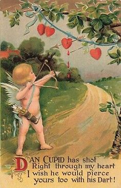 Postcard Valentine Dan Cupid Has Shot My Heart Key To My Heart, Heart For Kids, Holiday Postcards, Cupid, Valentines, Archery, Ebay, Illustration, Vintage