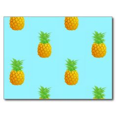 Pineapple Pattern on Blue Postcard. A repetitive pattern of simple pineapples on a bright blue background. This is a cute and summery pattern perfect for many occasions.