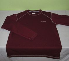 Men's COLUMBIA Omni Wick Fleece  SweatShirt Sz M Medium - Burgundy - 100% Poly #Columbia #FleeceTops