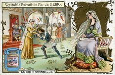 Le Cid by Corneille  - illustration on Liebig meat extract collectible card. Scene showing  Le Cid taking the hand of his beloved Chimène, whom the king has allowed him to marry after his defeat over the Moors. Pierre Corneille, French dramatist, 6 June 1606 – 1 October 1684.  (Photo by Culture Club/Getty Images) *** Local Caption ***