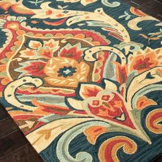 Multicolor damask rug.  Product: RugConstruction Material: PolyesterColor: Blue and multi