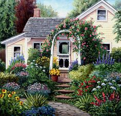 ☆the house garden☆ - houses & architecture background wallpapers on desktop nexus (image Garden Art, Home And Garden, Brick Garden, Architecture Background, Cottage In The Woods, Yellow Houses, Victorian Homes, House Painting, Home Art