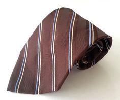 Van Heusen Neck Tie Brown Blue Yellow Striped 100% Silk #VanHeusen #NeckTie