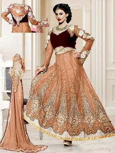 Elegant net kurta in brown color with resham, zari work. Item code : SLEB15508B www.bharatplaza.com/new-arrivals/salwar-kameez.html