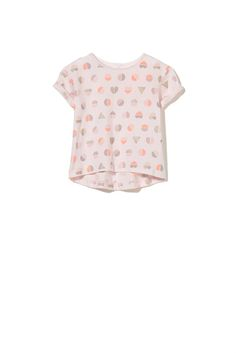 Baby girl cotton-rich short sleeve placement and yardage print tees with key hole button opening at back neck. 100% COTTON