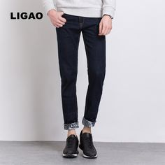d8c41f54 LIGAO 2017 Men's Jeans Trendy Printed Mens Jeans Slim Straight Pants  Trousers Male Denim blue Folding Cuffs Pant Vaqueros -in Jeans from Men's  Clothing ...