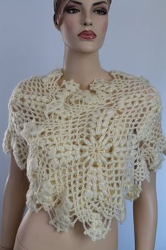 Cream Crochet  Lace  Wedding Shawl Wrap Shrug Capelet - Holiday Accessories. $98.00, via Etsy.