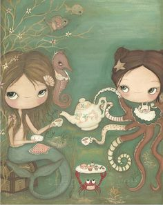 Mermaid Print Octopus Art Apron Cakes Seahorse by thepoppytree, $35.00 love this for the twins room! Pre Etsy the Artist takes requests... so I message the artist to see if it's possible to have a 3rd little girl added so all 3 of my girls could be represented in the print. Awaiting a reply.