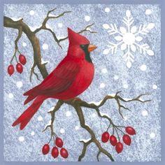 Cardinal Kit by Stephanie Stouffer Christmas Bird, Christmas Canvas, Christmas Paintings, Xmas, Winter Painting, Winter Art, Learn To Paint, Bird Art, Beautiful Birds