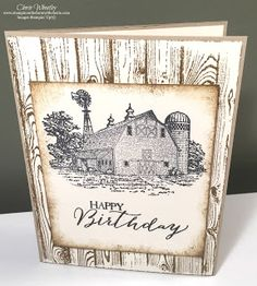 Masculine Birthday Card using Stampin' Up!'s Heartland and Hardwood stamp sets.  Check out my blog for details and the creative video.