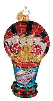 Christopher Radko Glass Luck Bucket Las Vegas Casino Christmas Ornament