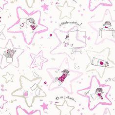 Artiste Fille Fabric - Rose (25674240) - Casadeco Arc En Ciel Collection