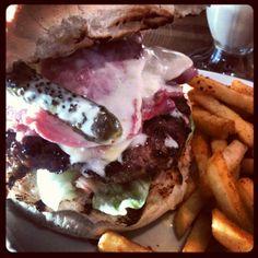 Mel Brooks burger at Atomic Burger in Bristol - Salt Beef, Gherkin & Blue Cheese