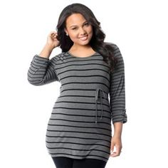 Oh Baby by Motherhood™ Striped Roll-Tab Tunic - Plus Size Maternity