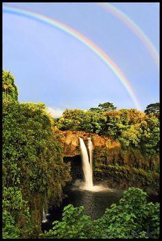 Double rainbow at Rainbow Falls, Hilo side of the Big Island, Hawaii
