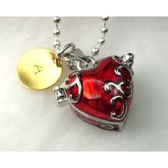 Personalized Red Heart Pendant Locket Charm by CharmAccents via Polyvore
