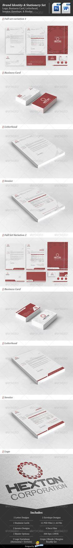 Corporate Brand Identity : Hexton Corporation  #logo #red #stationary • Click here to download ! http://graphicriver.net/item/corporate-brand-identity-hexton-corporation/4620579?s_rank=52&ref=pxcr
