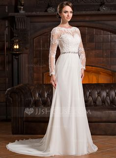 Vestidos princesa/ Formato A Decote redondo Cauda de sereia De chiffon Renda Vestido de noiva com Pregueado Bordado Lantejoulas (002056220)