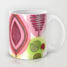 Retro Leaves Mug by Sarah Travis - $15.00 bright, funky, vibrant, intricate leaf print. In khaki, lime, red, burgundy and rose with a fine black outline. Watercolour and ink. Home, style, art, design, gifts.