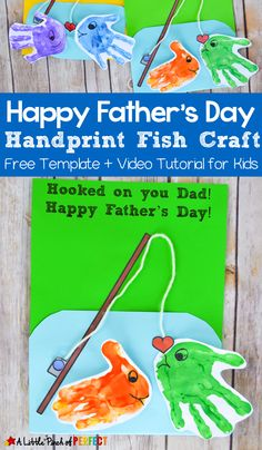 Hooked on you Dad! Kids will love this adorable handprint keepsake fishing card to give to their dad this Father's Day! Make it easily with our free printable template and video tutorial. This craft idea makes the perfect gift that dad will treasure! Kids Fathers Day Crafts, Fathers Day Art, Crafts For Kids To Make, Happy Fathers Day, Gifts For Kids, Craft Kids, Dad Gifts, Diy Father's Day Gifts From Toddler, Toddler Fathers Day Gifts