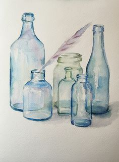 watercolor练习 bule glass bottle Watercolor painting #pictorial art#aquarelle#artistic print,figurative,scenic,poster