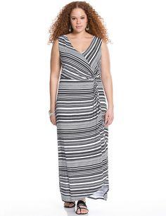 3bc4fcd0717a Plus Size Twist front striped maxi dress Lane Bryant Women's Size black