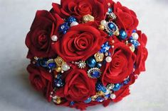 Blue And Red Wedding Flowers - a beautiful bouquet I want to try. Working on a red white and blue wedding for spring. Blue Red Wedding, Red Bouquet Wedding, Wedding Veil, Wedding Dresses, White Rose Bouquet, Blue Bouquet, Red And Yellow Roses, Red Roses, Blue Yellow