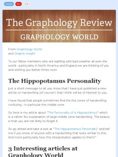 Check out this Graphology newsletter about personality types - the Hippo personality Personality Types, World, Check, The World