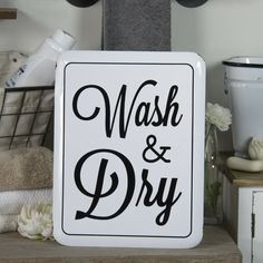 White Enamel Sign Wash & Dry Laundry Room Sign Vintage Inspired Wall Art  #Wash #Dry #Vintage #Laundry #Room #Wall #Art