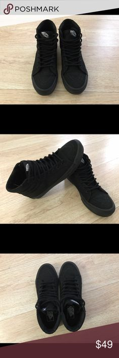 Women's VANS slims high top Brand new without tags , worn once, my feet are too flat to wear flatter shoes , didn't realize this when I bought them. Smoke and pet free, no damage , no ripped seems , can ship asap Vans Shoes Sneakers