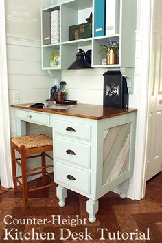 How to make a kitchen drop zone from a thrift store desk from Pretty Handy Girl