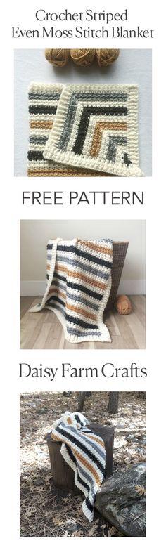 FREE PATTERN - Crochet Striped Even Moss Stitch Blanket - Daisy Farm Crafts #CrochetAfghan