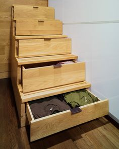 Cool Idea for staircase in a small place. Turn them into dresser drawers