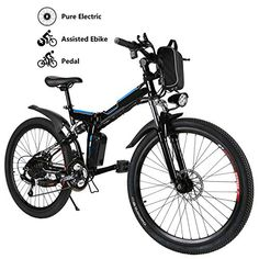 Yiilove Electric Bicycle Electric Mountain Bike for Adult with Lithium-Ion Battery Ebike Powerful Motor 21 Speed (Black) Folding Mountain Bike, Electric Mountain Bike, Full Suspension Mountain Bike, Mountain Bicycle, Mountain Biking, Folding Electric Bike, Folding Bicycle, Electric Bicycle, Electric Scooter