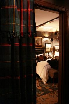 "the adventures of tartanscot™: ""In Danger of Falling . "" love the tartan drapes"