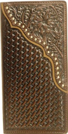 (WFAC682) Western Brown Basketweave/Floral Tooled Rodeo Wallet/Checkbook Cover