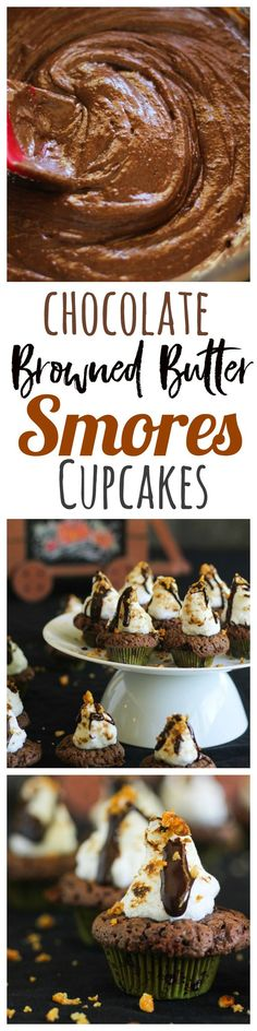 Chocolate Browned Butter SMORES Cupcakes are the perfect Halloween cupcakes or ANY party cupcake recipe