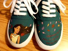 Pocahontas Painted Shoes by HandPainted29 on Etsy, $35.00