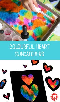 Add a splashg of colour to the windows in your home or classroom with these vibrant tie-dyed Valentines sun catchers! Add a splashg of colour to the windows in your home or classroom with these vibrant tie-dyed Valentines sun catchers! Preschool Valentine Crafts, Kinder Valentines, Valentines Day Activities, Valentines For Kids, Valentine's Day Crafts For Kids, Toddler Crafts, Art For Kids, Art Projects For Toddlers, Sun Catchers