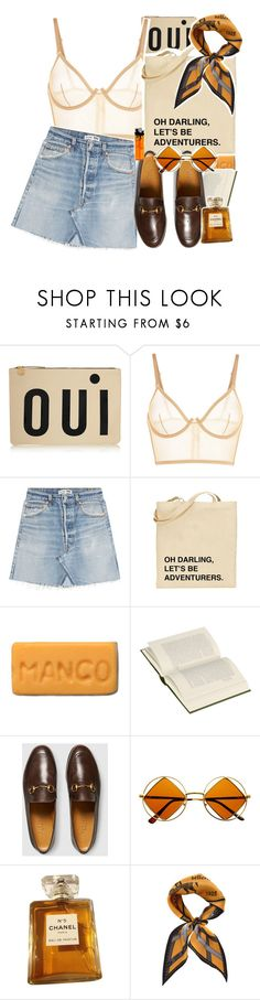 """""""Always Say Oui to Adventures in Paris"""" by sparkling-oceans ❤ liked on Polyvore featuring Clare V., La Perla, RE/DONE, Gucci, Retrò, Chanel, Fendi and vintage"""